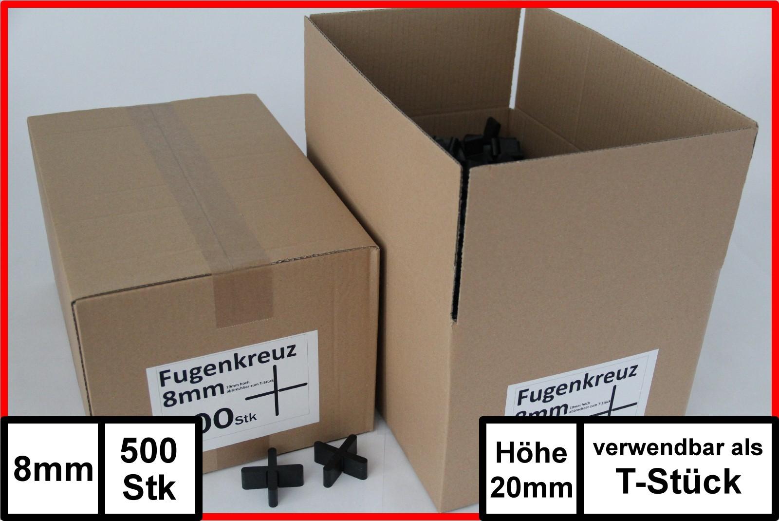Fugenkreuze 8mm Bauh/öhe 20mm 500 St/ück im Karton